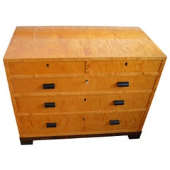 French Art Deco Satinwood Dresser In Bird's-Eye Maple And Zebra Veneer