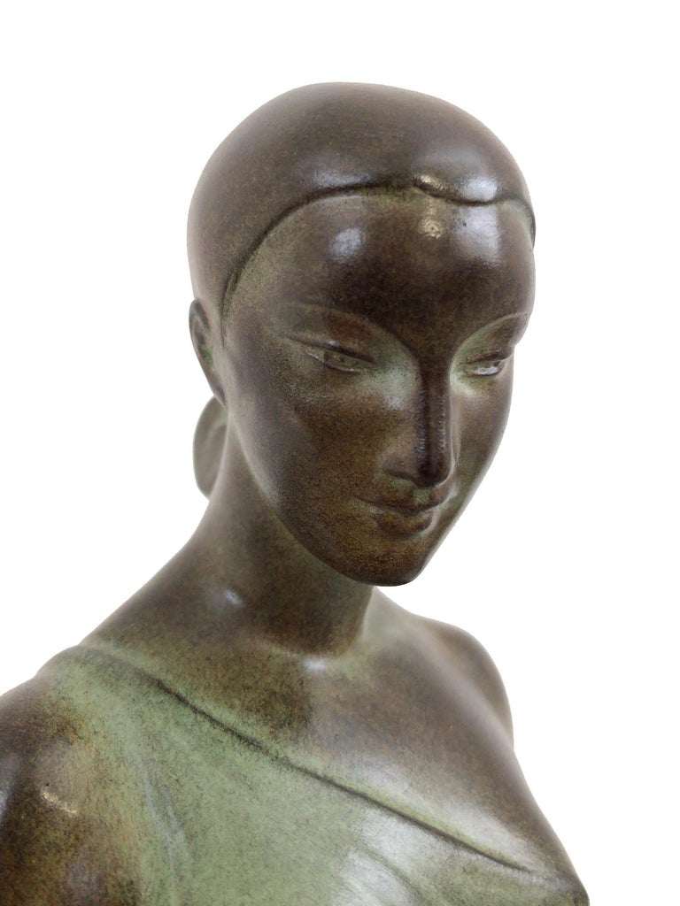 Contemporary French Art Deco Sculpture, lighted, Nausicaa by Fayral, Original Max Le Verrier For Sale