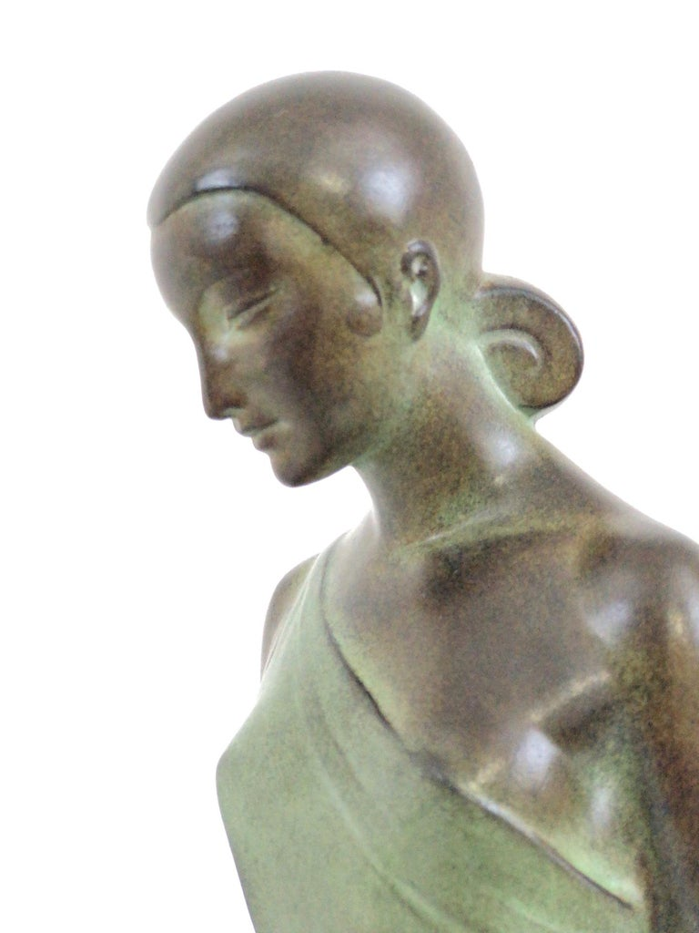 Marble French Art Deco Sculpture, lighted, Nausicaa by Fayral, Original Max Le Verrier For Sale