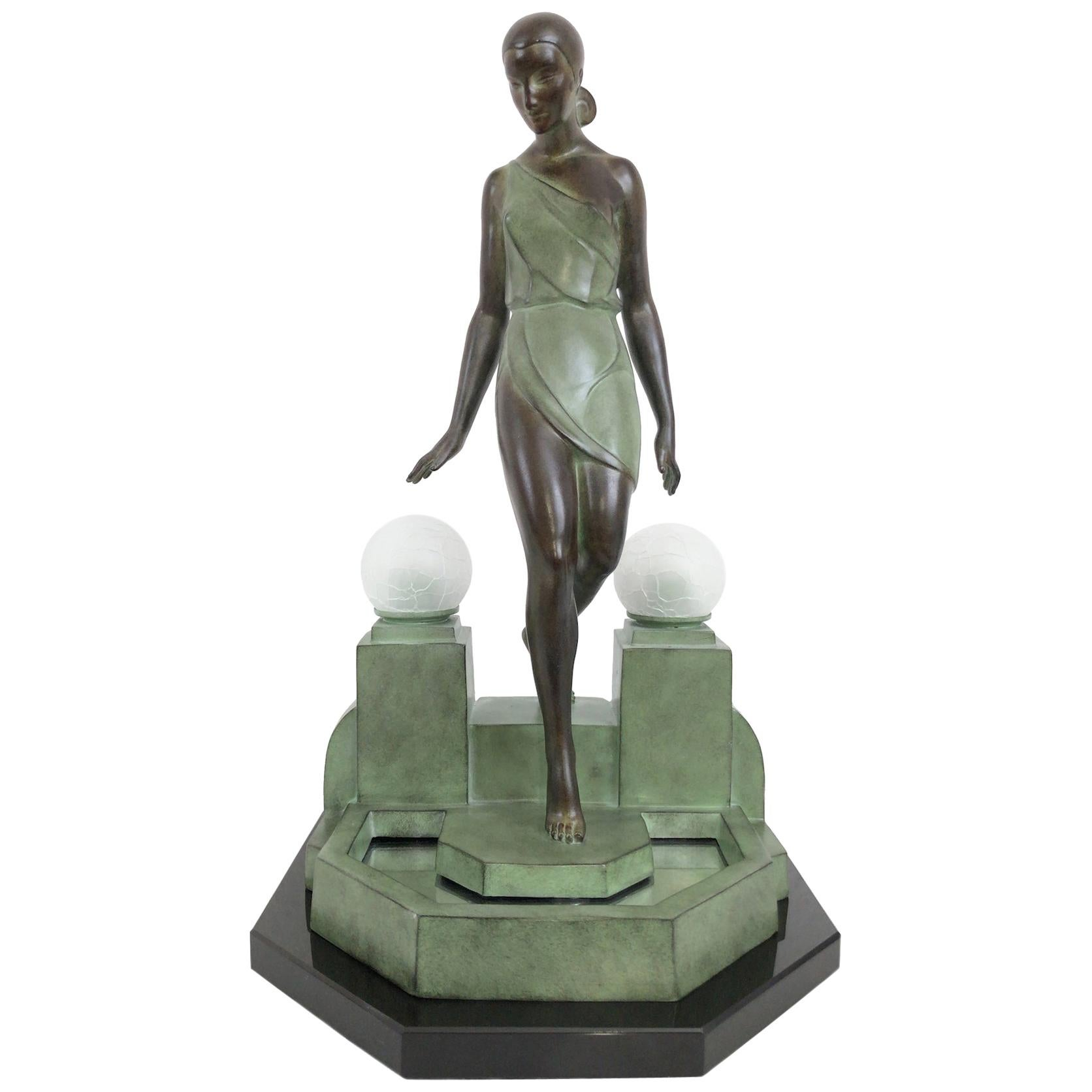 French Art Deco Sculpture-Lamp Nausicaa by Pierre Le Faguays and Max Le Verrier