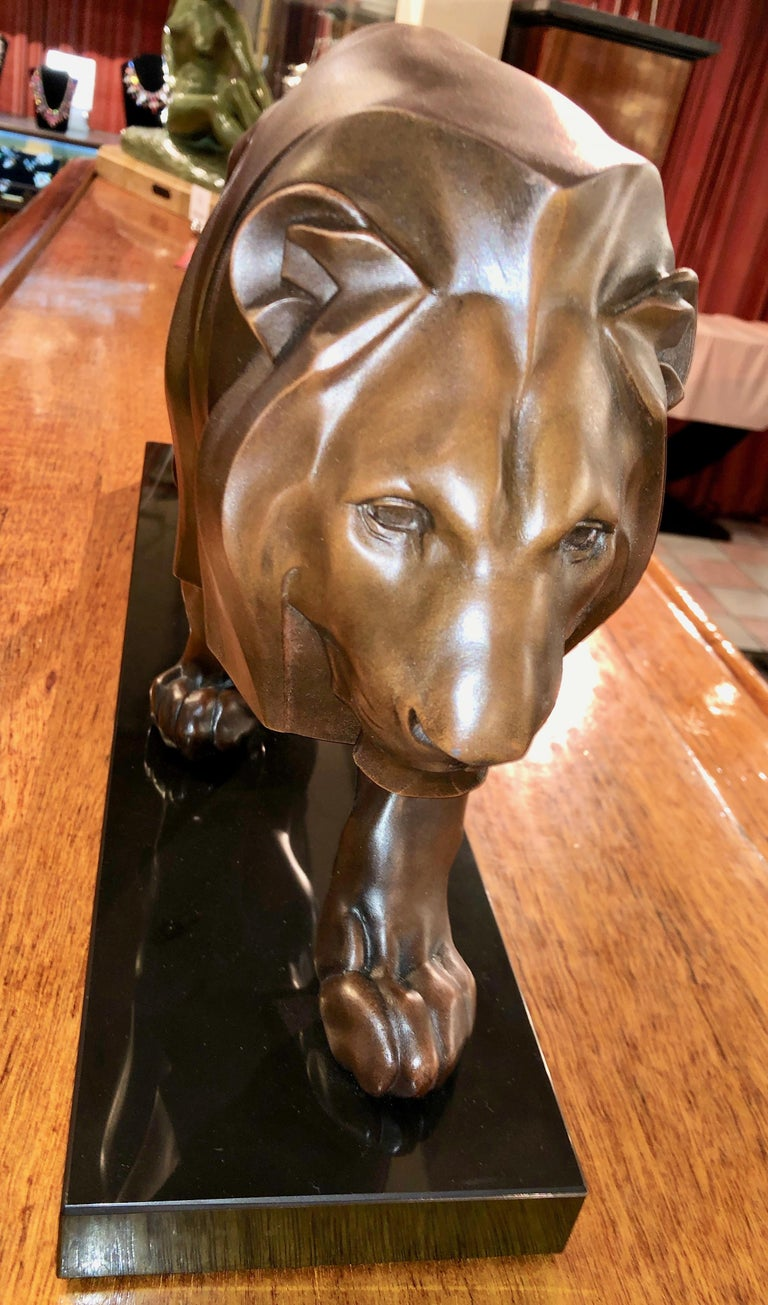 Spelter French Art Deco Sculpture of a Walking Lion King by Max Le Verrier For Sale