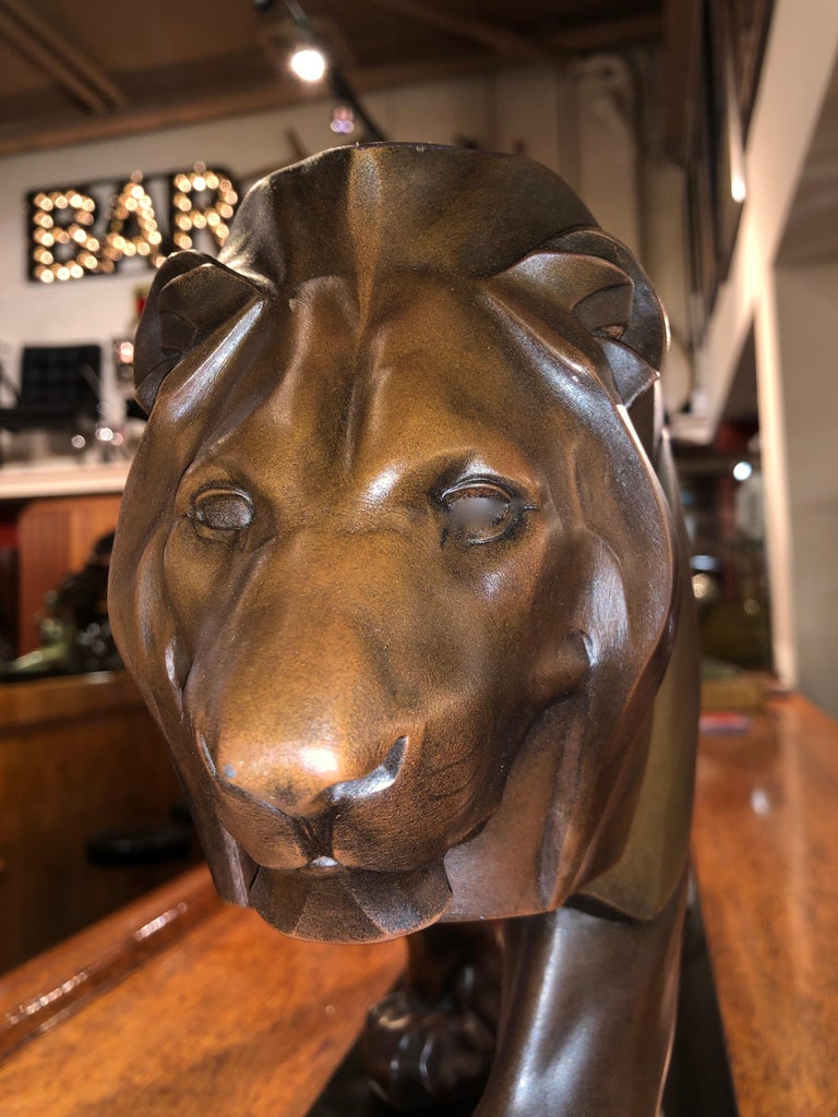 French Art Deco Sculpture of a Walking Lion King by Max Le Verrier For Sale 4