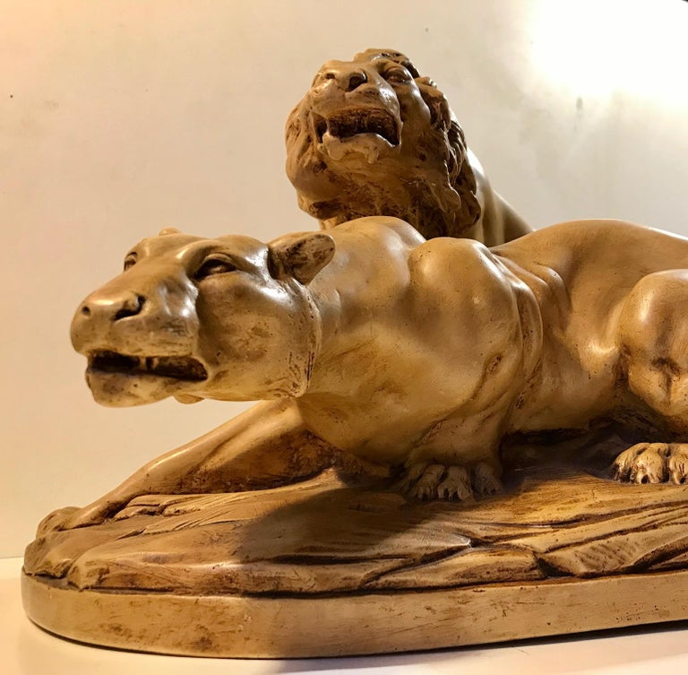 Plaster French Art Deco Sculpture of Lions A L'affut by A. Martinez, Paris, 1924 For Sale