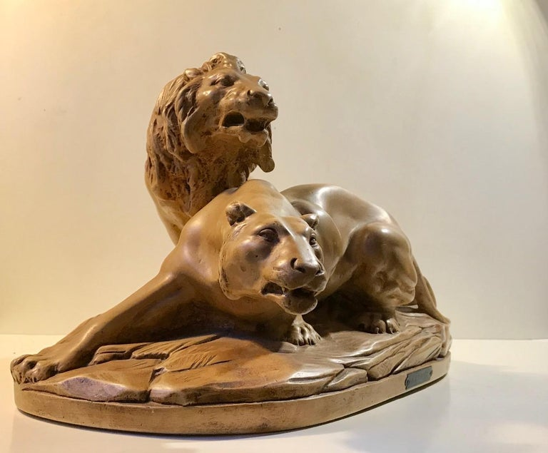 French Art Deco Sculpture of Lions A L'affut by A. Martinez, Paris, 1924 For Sale 2