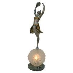 French Art Deco Sculpture Table Lamp Tambourine Dancer