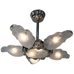 French Art Deco Semi Flush Mount Chandelier by Boris Lacroix