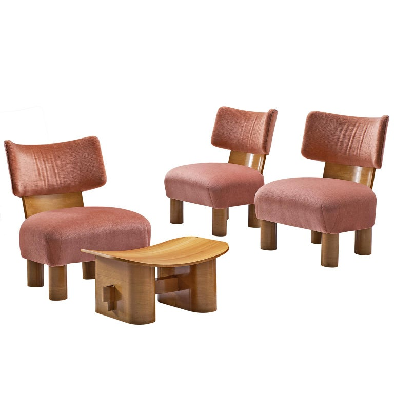 French Art Deco Set of Three Chairs with Ottoman For Sale