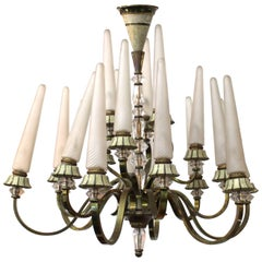 French Art Deco Sevres Bronze and Glass Chandelier