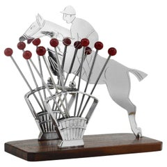 French Art Deco Show Jumping Cocktail Picks, 1930s