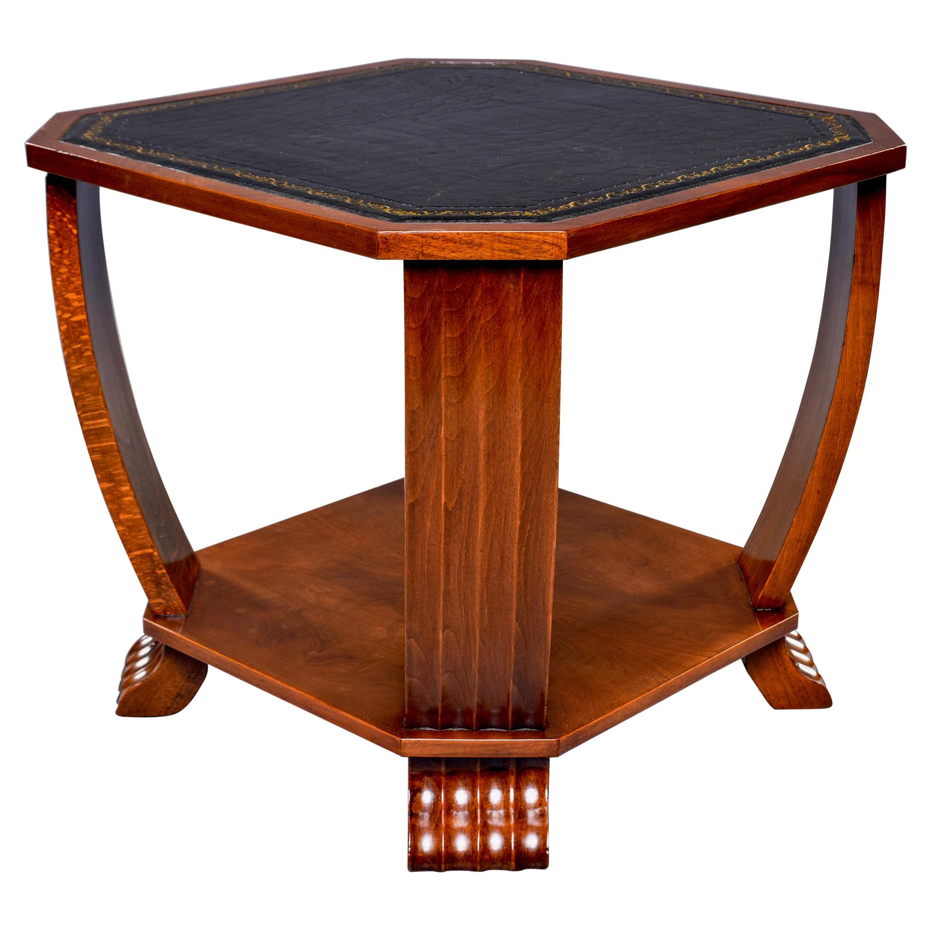 French Art Deco Side Table with Black Leather Top
