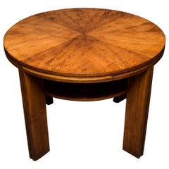 French Art Deco Side Table with Shelf