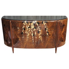 French Art Deco Sideboard by Michel Dufet in Walnut with Floral Marquetry