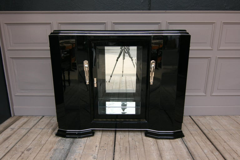 French Art Deco Sideboard in Black, 1920s For Sale 13