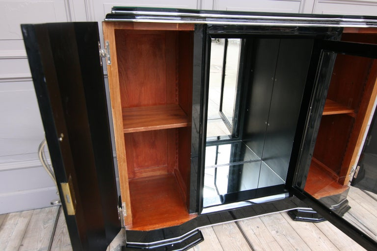 Wood French Art Deco Sideboard in Black, 1920s For Sale