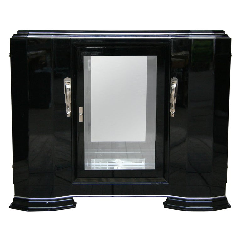 French Art Deco Sideboard in Black, 1920s For Sale
