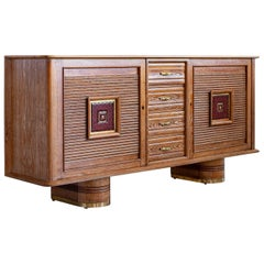 French Art Deco Sideboard in Cerused Oak, circa 1940s
