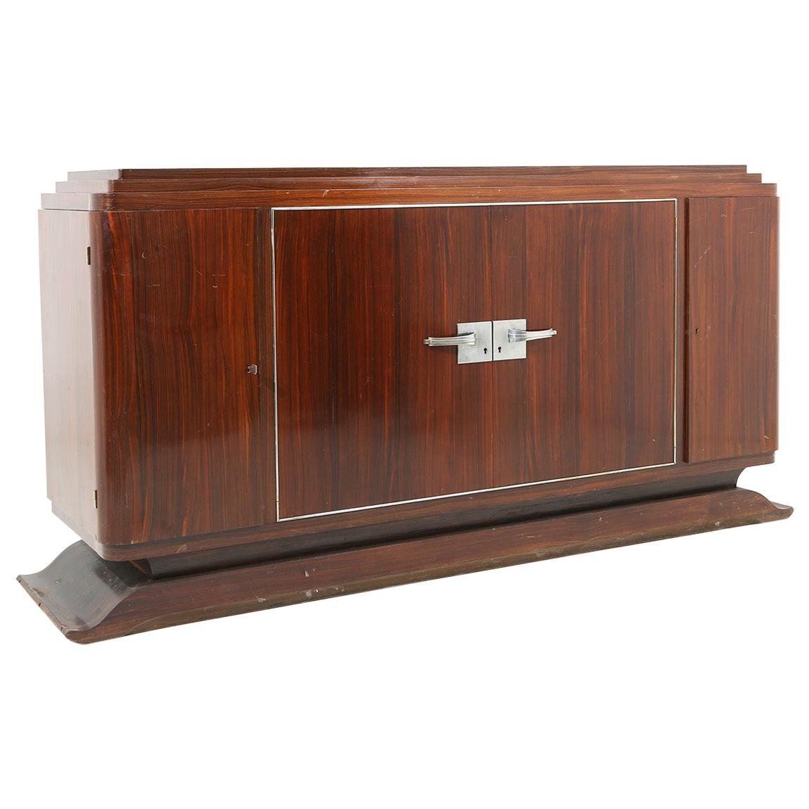 French Art Deco Sideboard in Macassar Wood and Chromed Aluminum, 1930s