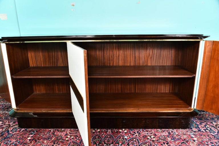 French Art Deco Sideboard in Walnut with White Leather, circa 1940-50s For Sale 2