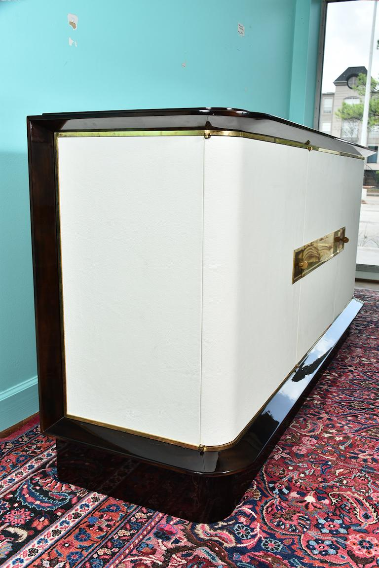 French Art Deco Sideboard in Walnut with White Leather, circa 1940-50s For Sale 5