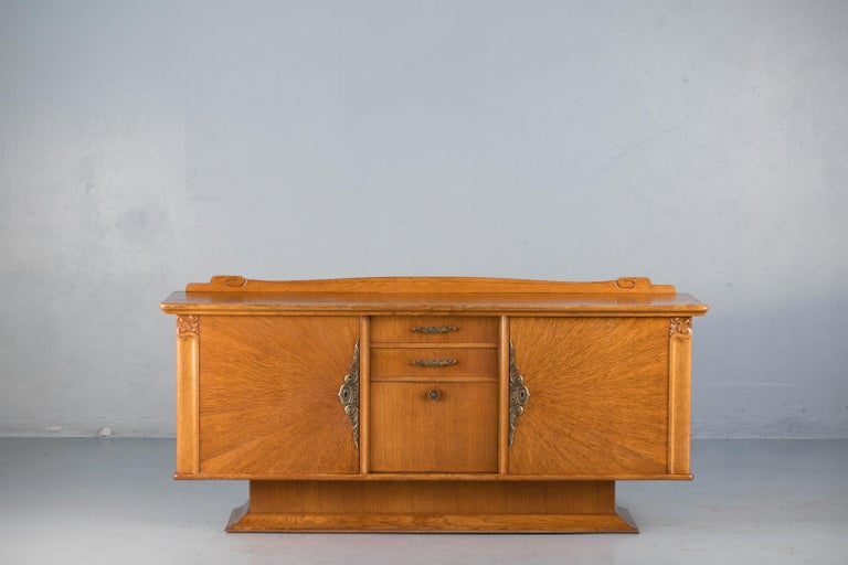 Oak French Art Deco Sideboard with French Art Veneer, 1940s For Sale