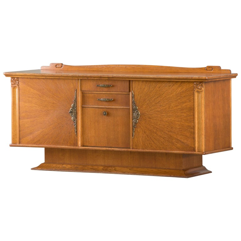 French Art Deco Sideboard with French Art Veneer, 1940s For Sale