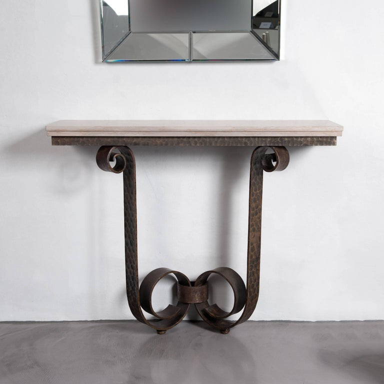 French Art Deco Side Table Solid Iron with Marble Top Attributed to V. Ducrot For Sale 5