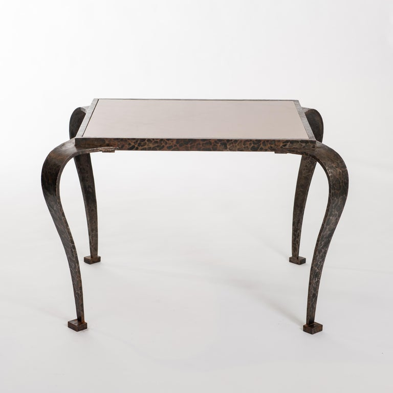 Italian French Art Deco Side Table Solid Iron with Marble Top Attributed to V. Ducrot For Sale