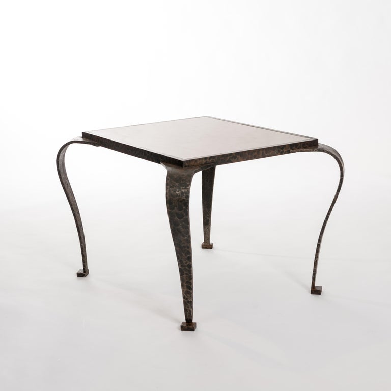 Forged French Art Deco Side Table Solid Iron with Marble Top Attributed to V. Ducrot For Sale