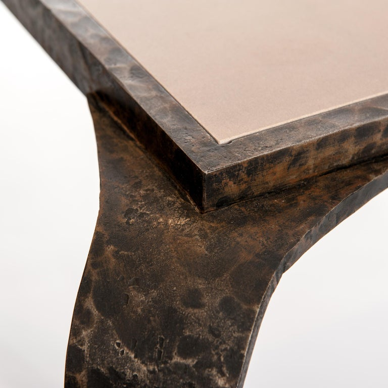 French Art Deco Side Table Solid Iron with Marble Top Attributed to V. Ducrot For Sale 1