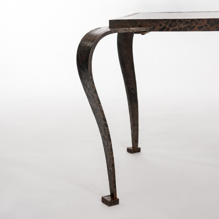 French Art Deco Side Table Solid Iron with Marble Top Attributed to V. Ducrot For Sale 3