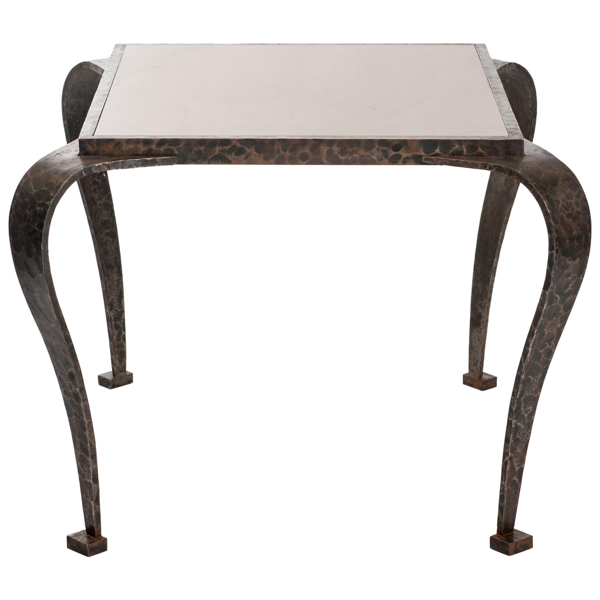 French Art Deco Side Table Solid Iron with Marble Top Attributed to V. Ducrot