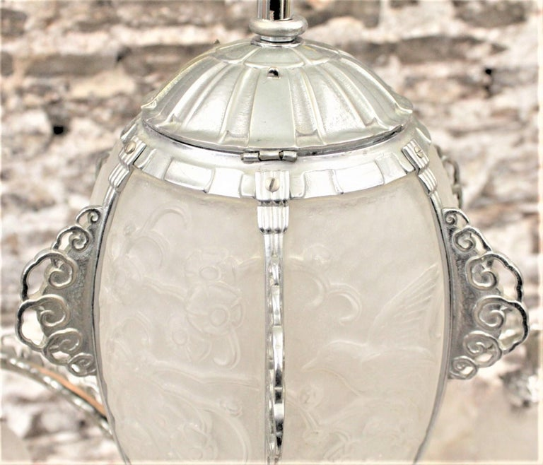 French Art Deco Signed Sabino Six Arm Chrome & Molded Frosted Glass Chandelier For Sale 9