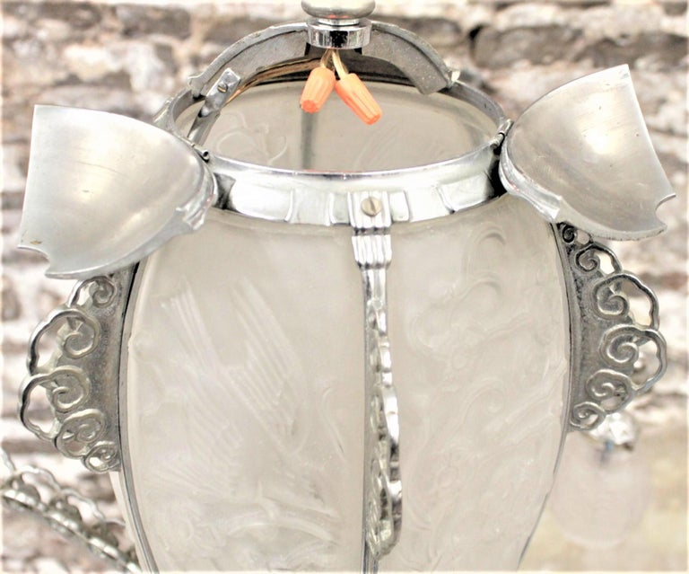 French Art Deco Signed Sabino Six Arm Chrome & Molded Frosted Glass Chandelier For Sale 11