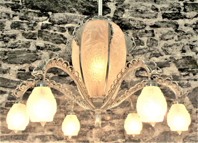 20th Century French Art Deco Signed Sabino Six Arm Chrome & Molded Frosted Glass Chandelier For Sale