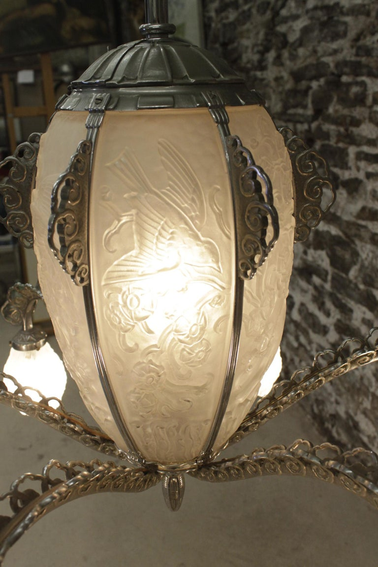 French Art Deco Signed Sabino Six Arm Chrome & Molded Frosted Glass Chandelier For Sale 4