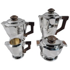 French Art Deco Silver 4-Piece Coffee & Tea Set
