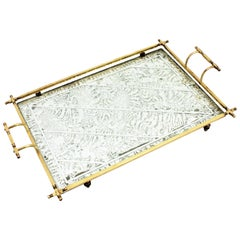 French Art Deco Silver Leaf, Mirror and Brass Serving Tray with Handles, 1930s