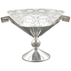 French Art Deco Silver Plate and Etched Glass Centerpiece Bowl