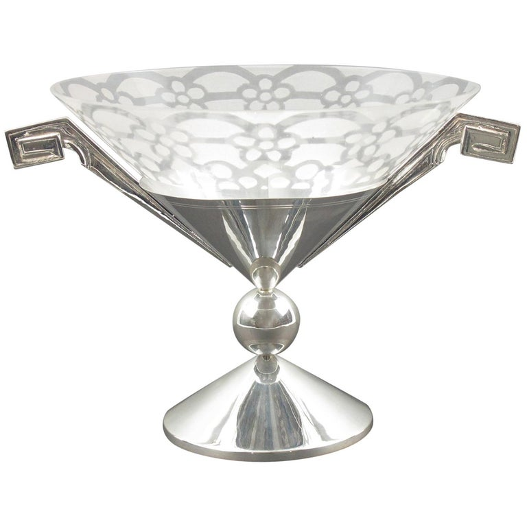 French Art Deco Silver Plate and Etched Glass Centerpiece Bowl For Sale