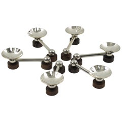 French Art Deco Silver Plate and Macassar Chopstick or Knife Rests, Set of Six