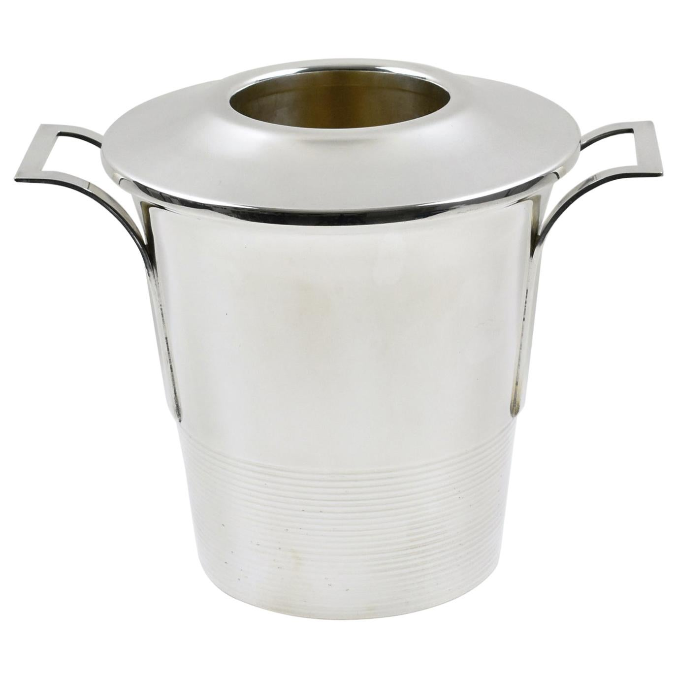 French Art Deco Silver Plate Champagne Ice Bucket Wine Cooler