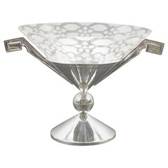 French Art Deco Silver Plate Etched Glass Centerpiece Bowl