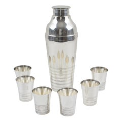 French Art Deco Silver Plate Martini Shaker and 6 Cocktail Cups