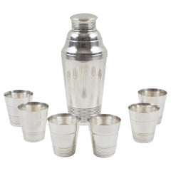 French Art Deco Silver Plate Shaker and 6 Cocktail Cups