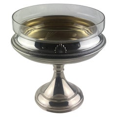 French Art Deco Silver Plated and Glass Chalice Centerpiece