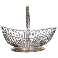 French Art Deco Silver Plated Serving Basket with Swing Handle