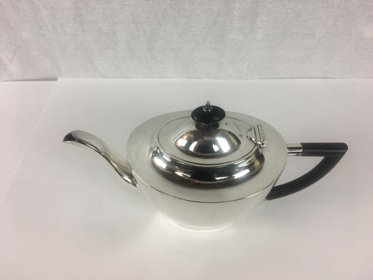 20th Century French Art Deco Silver Plated Tea Service, 3 Pieces For Sale