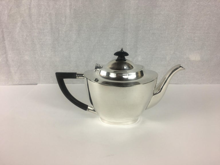 French Art Deco Silver Plated Tea Service, 3 Pieces For Sale 1