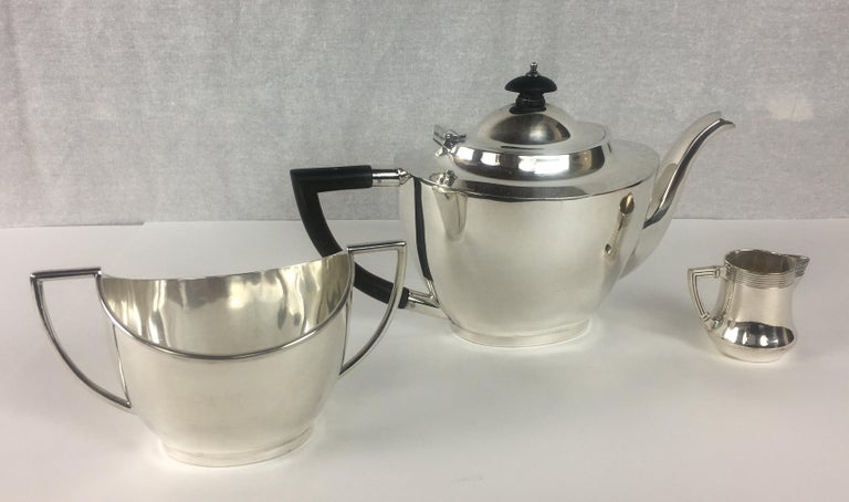 French Art Deco Silver Plated Tea Service, 3 Pieces For Sale 2