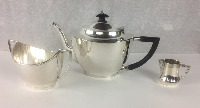 French Art Deco Silver Plated Tea Service, 3 Pieces For Sale 3